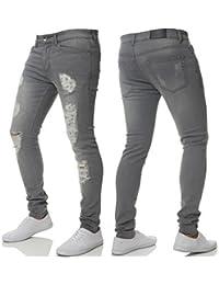 ENZO hommes neuf Super Stretch Jeans Moulant Déchiré délavé Designer