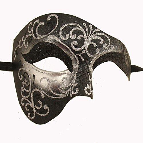Hälfte Gesicht Kostüme Die Maske (Luxus Maske Half Face Maske Masquerade Phantom der Oper Gr. Einheitsgröße, Schwarz -)