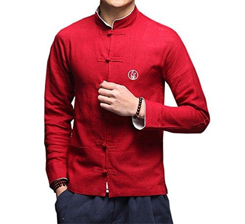 DaDag- Chinesisches Hemd Herren Slim Fit Blusen Groß Größe Freizeithemd Klassisch LangarmhemdMeditations Shirt Jacke (XXL, Rot) - Western Hemd-jacke