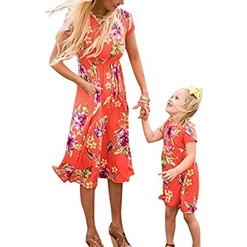 ropa primavera kawaii Mommy Baby Beach Skirt Dress Vestido estampado de mujer Vestido mini Vestido de niña Primavera verano Manga corta