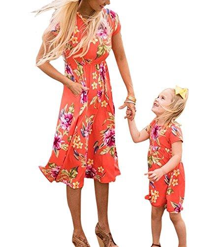 eid Mama Baby Strandkleid Kurzarm Print Minikleid Mädchen Frau Kleid (Passende Kostüme Für Die Familie)