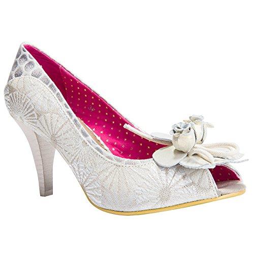 poetic-femmes-licence-rongeur-creme-de-plage-motif-peep-toe-chaussures-a-talons-mi-hauts-blanc-casse