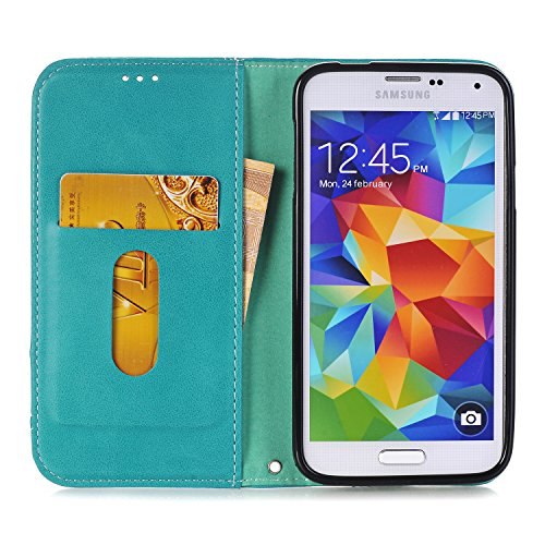 Hülle für Samsung Galaxy S5, Tasche für Samsung Galaxy S5 Neo, Case Cover für Samsung Galaxy S5, ISAKEN Farbig Blank Muster Folio PU Leder Flip Cover Brieftasche Geldbörse Wallet Case Ledertasche Hand Fadenkreuz Knopf Blaugrün