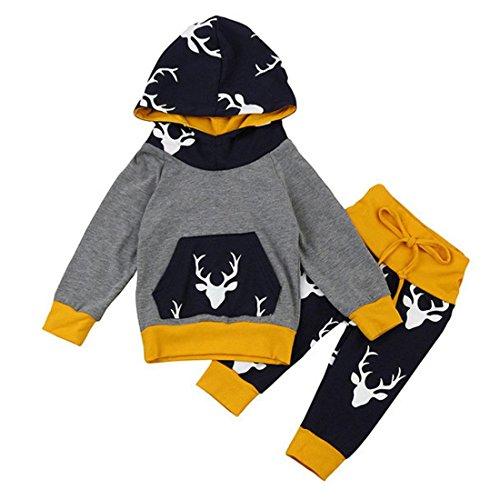 Babykleidung Baby Kapuzenpullover Set Btruely Kinder Mädchen Jungen Tops Streifen+ Hose Kleinkind Lange Ärmel Outfit Set (Grau, 90)