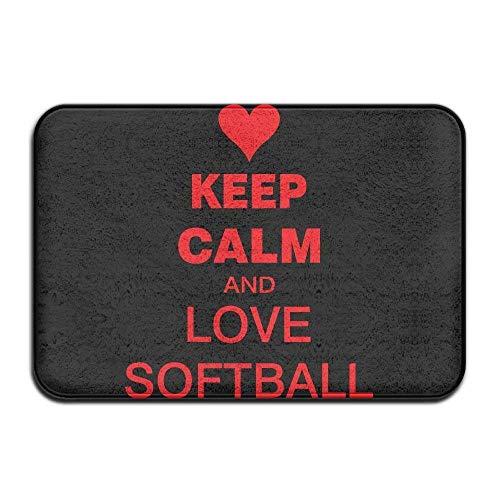 Ejdkdo Keep Calm and Love Softball Non-Slip Indoor/Outdoor