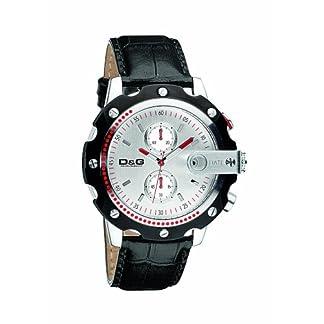 DW0366para hombre D & G Sean plata cara Cronógrafo Negro correa de cuero reloj