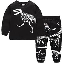 Kids Pjs ropa de dinosaurio de manga larga Big Boys pijamas chicas ropa de dormir Set pijamas de Navidad invierno 2 piezas