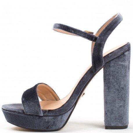 Ideal Shoes - Sandales effet velours à talon épais Vainuia Gris
