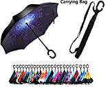 #8: PETRICE ☂☂ Windproof Double Layer Folding Inverted Umbrella, Self Stand Upside-down Rain Protection Car Reverse Umbrellas with C-shaped Handle (1 Pcs)(Color And Design May Vary) ☂☂