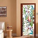 Fqz93in Aufkleber Der Tür 3D 3D Durch Aufkleber Flamingoaufkleber Porte Kleber Durch Aufkleber Wasserdichte Wandtapete Auf Tür