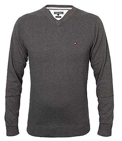 Tommy Hilfiger Herren Vneck Pullover CLASSIC HTR V-NK CF, Farbe:Anthrazit;Größe:L