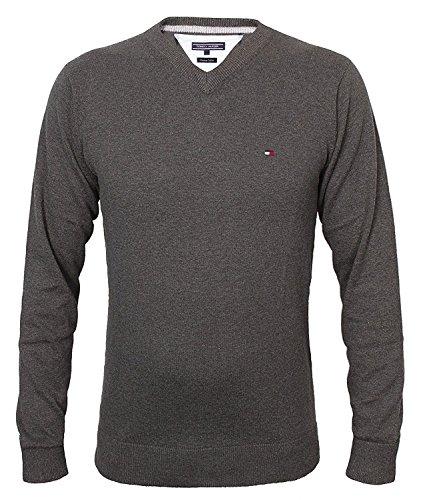 Tommy Hilfiger Herren Vneck Pullover CLASSIC HTR V-NK CF, Größe: M, Farbe: Anthrazit