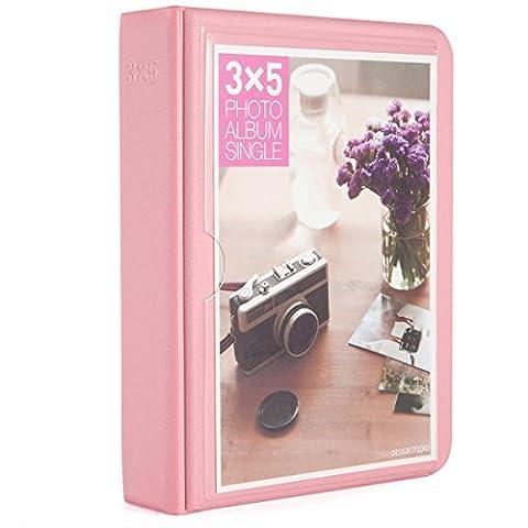 [Fujifilm Instax Photo Album] Woodmin 32 Pockets Mini Album de photos Polaroid pour photos de 5 pouces par Fujifilm Instax Wide, Snap, Zip, Z2300, Postale Carte 3X5(Rose)