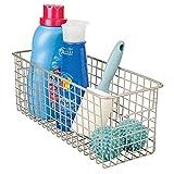 mDesign Aufbewahrungskorb für Reinigungsmittel – praktischer Regalkorb aus Metall – Schrankkorb für die Waschküche – satiniert