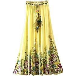 OuYou Mujer Faldas Largas Verano Playa Elegantes Vintage Boho Impresa Cintura Alta Gasa Falda Maxi Plisada Ropa Fiesta Moda (3C)