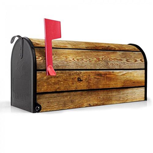 BANJADO US Mailbox | Amerikanischer Briefkasten 51x22x17cm | Letterbox Stahl schwarz | mit Motiv Holzbretter, Briefkasten:ohne Standfuß
