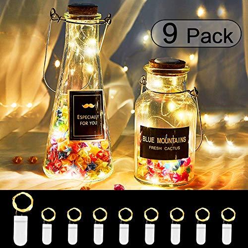 9x20 Led Lichterkette Batterie LED Drahtlichterkette 20er Silberdraht Wasserdicht IP65, 2m Lichterkette für weihnachtsbaum Party Fest Beleuchtungdeko Weihnachtendeko (Warmes Weiß) -