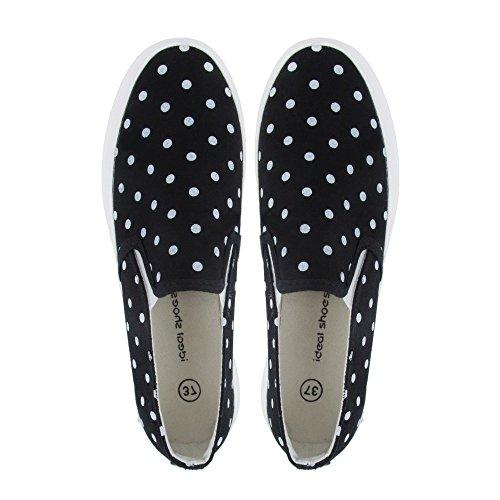 Ideal Shoes-Slip-on Eleanie a pois Nero (nero)