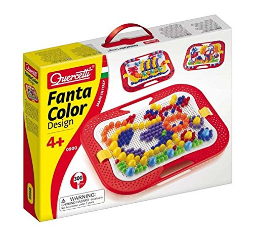 Quercetti 0900 - Fanta Color, Pin Design Game, 300 Pins, Mosaic
