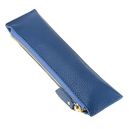 Btsky, astuccio portapenne in vera pelle, vintage, morbido, per oggetti di cancelleria, per studenti, uomini d'affari e artisti blue