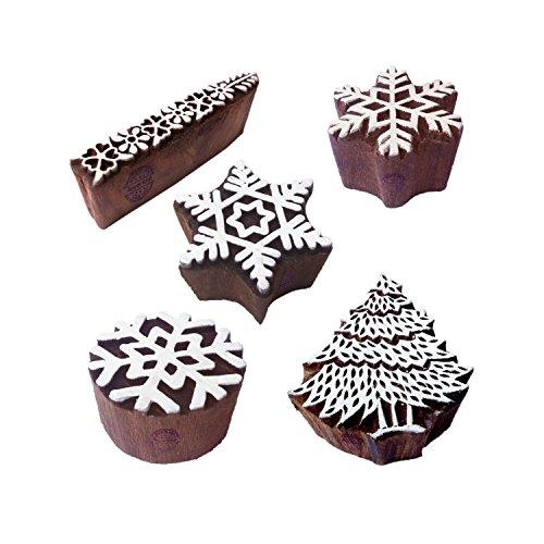 Royal Kraft Innovativ Motif Schneeflocke und Baum Holz Blöcke Drucken Stempel (Set von 5)