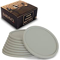 Gris Posavasos BARVIVO, juego de 8 – Protección para mesas de cualquier tipo: madera, granito, vidrio, esteatita, arenisca, mármol, piedra – Posavasos suave perfecto para vasos de cualquier tamaño.