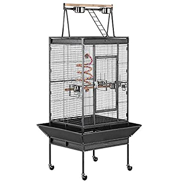 Yaheetech 174cm Large Bird Cage/Aviary for African Grey Parrots Cockatiels Parakeets Green Cheeked Conure Lovebirds Budgies Finches with Perch Stand and Wheels