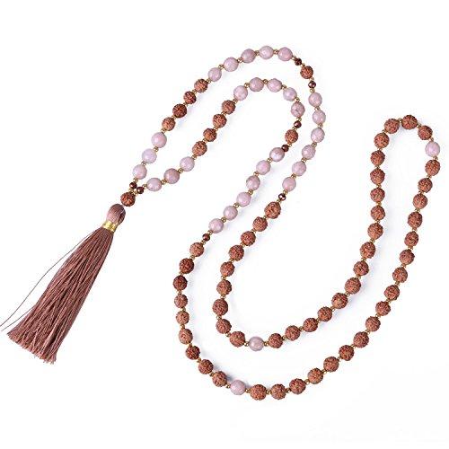 KELITCH Hinduismus Mala Rudraksha Achat Meditation Gebet Kette mit Braun Quaste Anhänger