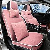 Autositzbezug Autositzschutz Autokissen - Winter Warm Wool 3D Damen Kissen Coverour Seasons Universal - Mit Kissen Autositzmatte Pad (Größe : Pink)