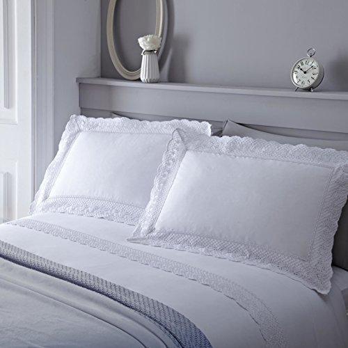 Blumen Spitze Baumwollmischung Weiß Super King Bettdecke Bettdecke Hülle -