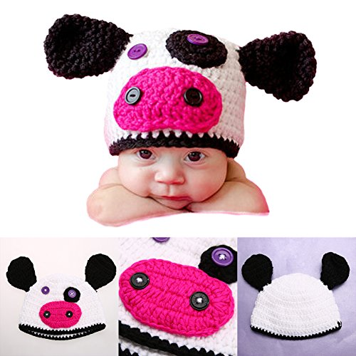 19% OFF on Generic New Arrival Fashion Newborn Baby Infants Cow Hat Crochet  Knitted Cap Beanie Pure Handmade Costume Photography Prop on Amazon ... 1fc6c34abb94
