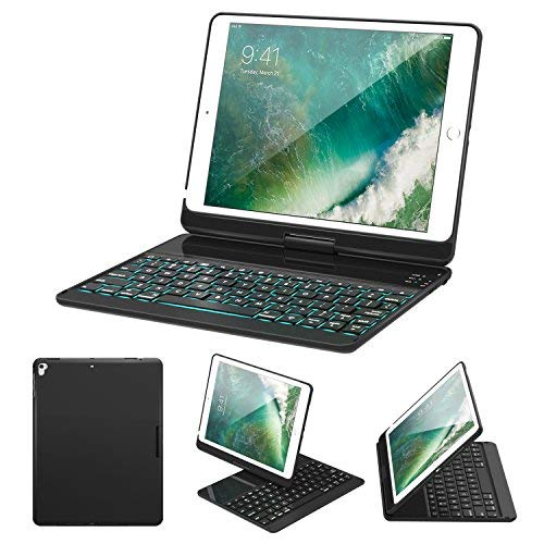 MoKo Bluetooth Tastatur für iPad Air/Air 2 / iPad 9.7 (2017) / iPad Pro 9.7, drehbare 7-farbige Beleuchtete Beleuchtung Wireless Keyboard Case Cover (schwarz) - Ipad Für Air 2 Tastatur Portable