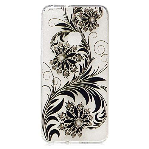 Huawei P10 Lite Hülle Case, Cozy Hut® [Flower Series] Ultra Dünn [Crystal Case] Transparent Soft-Flex Handyhülle / Bumper-Style Premium-TPU Silikon / Perfekte Passform / Kratzfest Schutzhülle für Huawei P10 Lite Case, Huawei P10 Lite Cover, P10 Lite Case, P10 Lite Cover - Black Flower