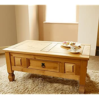 Mews Corona 1 Drawer Coffee Table Mexican Pine Amazoncouk