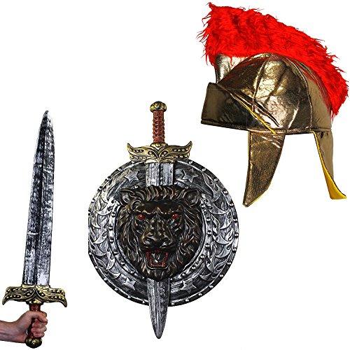 ILOVEFANCYDRESS Gladiatoren RÖMER KÄMPFER KOSTÜME VERKLEIDUNG ZUBEHÖR = FÜR Film FERNSEH Themen Fasching Karneval Krieger Party =SILBERNES Schild UND Schwert + WEICHE Gladiator - Herkules Disney Kostüm