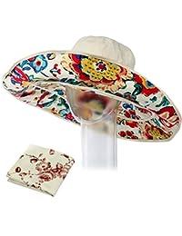 kilofly–Juego de mujer 2en 1Gran Ala Ancha anti UV Sol sombrero + Pañuelo Set