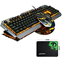 FELiCON Gaming Keyboard Mouse Combo Wired LED Retroiluminado Multimedia Usb Juego Metal Impermeable + 3200DPI 7