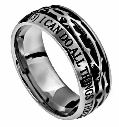 Herren-Ring Edelstahl 10 mm Abstinence Crown of Thorns I Can Do All Things Through Christ Who Strengthens Me Philippians 4:13 Komfortable Passform für Jungen - Jungs Reinheit Ring von Edelstahl