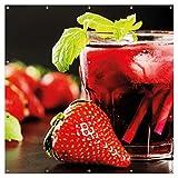 Wallario XXL Garten-Poster Outdoor-Poster - Erdbeer-Mojito - Frische Erdbeeren in Premiumqualität, für den Außeneinsatz geeignet