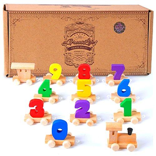 Digitale Kleine Holzeisenbahn: Bestes pädagogische Set von Eisenbahnen mit Spaß und Bunten 0-9 Zahlenwerten für Kleinkinder (Spielzeug-box, 1-jährige Für)