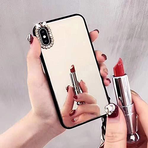 Artfeel Glitzer Spiegel Hülle für iPhone 6 Plus/iPhone 6S Plus,Bling Glänzend Diamant Strass Weich Silikon + Hart Gehärtetes Glas Handyhülle,Ultra Dünn Klar Make Up Spiegel Schutzhülle-Silber