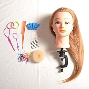 Flissy Mannequin tête avec longs cheveux pour entraînements pour coiffeurs avec pince de fixation pour table