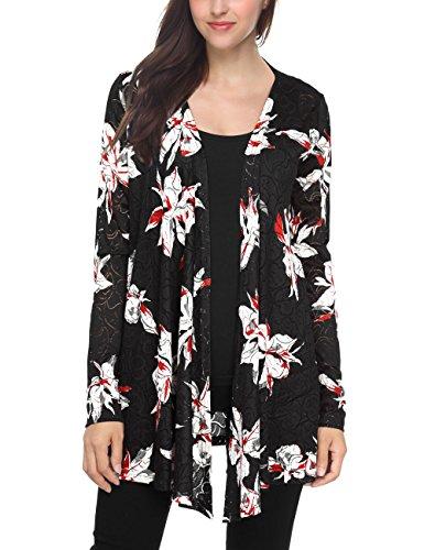 Slivexy Flower Cardigan Femme Veste Motif Imprimé Manteau à Manches Longues Outwear Gilet Ouvert Kimono Top Noir