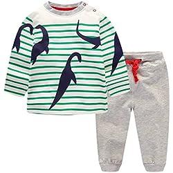 Pijamas largo los niños dos piezas de dinosaurios para de algodón 100% Tamaño 6 años