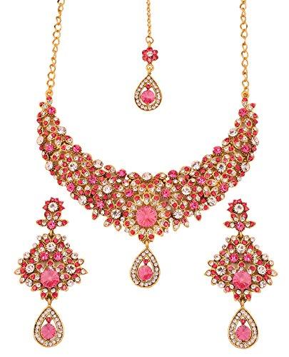 Touchstone indischen Bollywood Filigran weiß pink Kristallen Hochzeit Schmuck Halskette in Antik Gold Ton (Schmuck Indien Hochzeit)