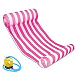 Yellow : 1PC Stripe Outdoor PVC Floating Sleeping Bed Water Hammock Lounger Chair Float Inflatable Air Mattress Swimming Pool Accessories