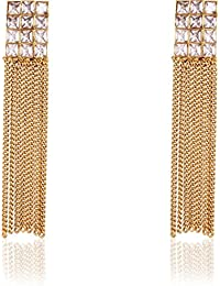 Jewels Galaxy Party Wear 18k Gold Plated Austrian Diamond Studded Long Tassel Earrings For Girls
