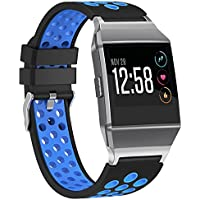SnowCinda Armband fur Fitbit Ionic, Verstellbares Ersatzarmband Damen Herren Silikon Sport Uhrenarmband Fitness Zubehor mit Edelstahl Steckverbinder und Metallschliese