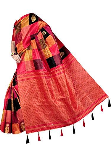 BELLBIRD FAB Banarasi Saree With Blouse Piece (bbf478_Pink_Free Size)