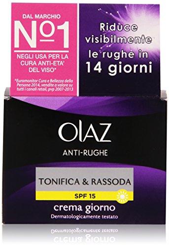 Olaz Antirughe Tonifica & Rassoda Crema Giorno Idratante Anti-età SPF 15, 50 ml